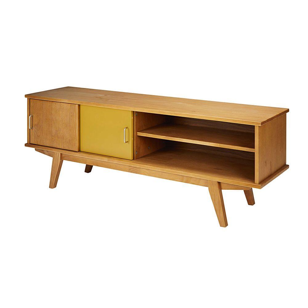 meuble tv vintage 2 portes tricolore