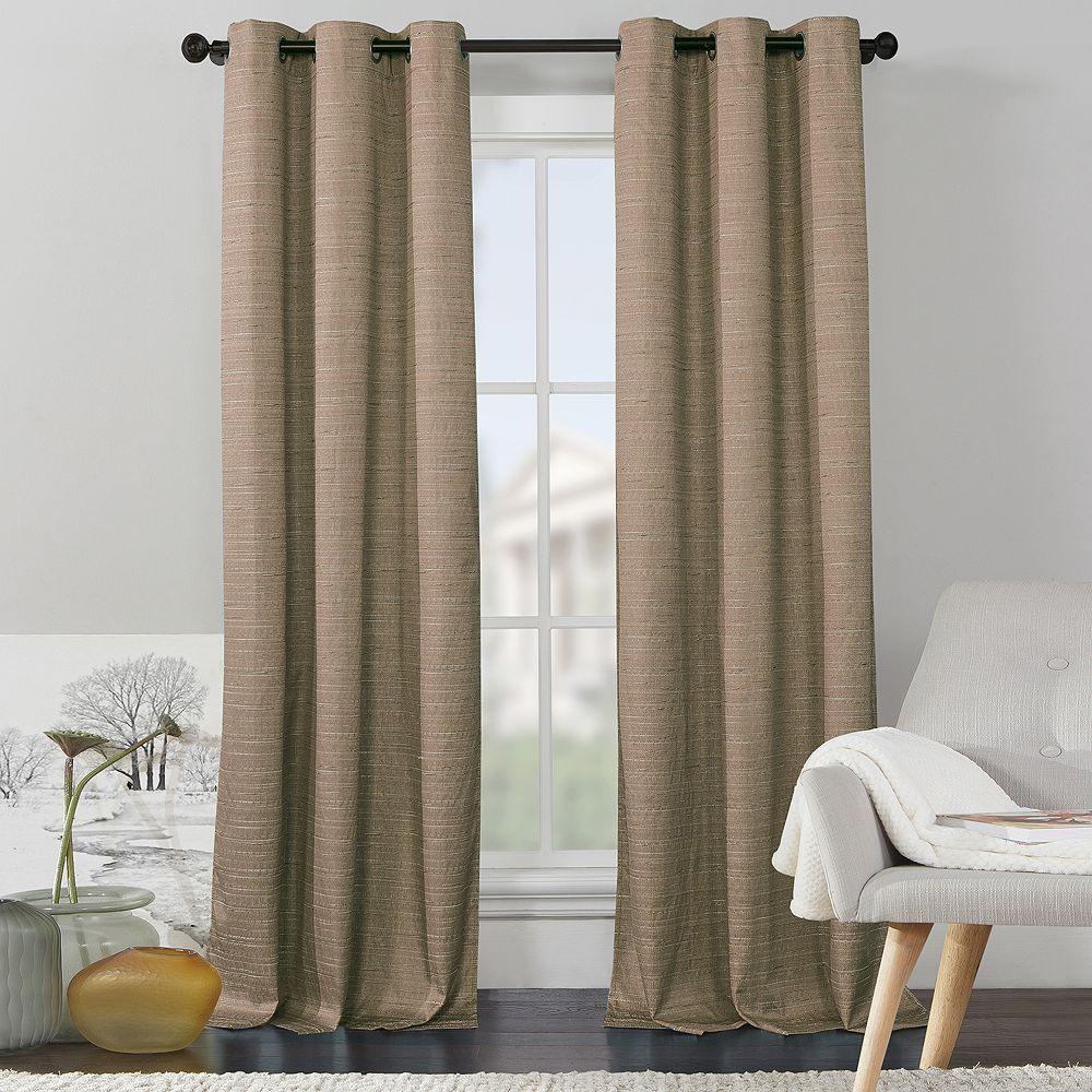 Vcny 2 Pack Livingston Solid Foamback Curtain, Beig/Green (Beig/Khaki