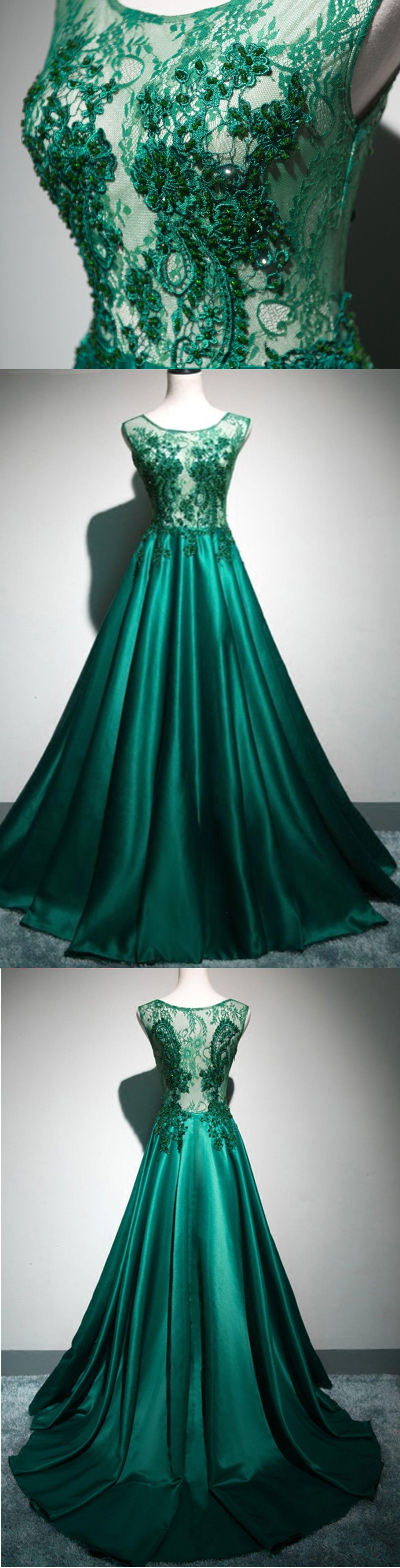 Deep green satin long lace top see through evening dresses, long ...