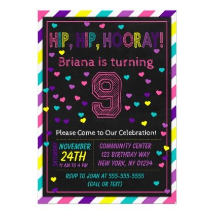 9th Birthday Invitation For A Girls Party