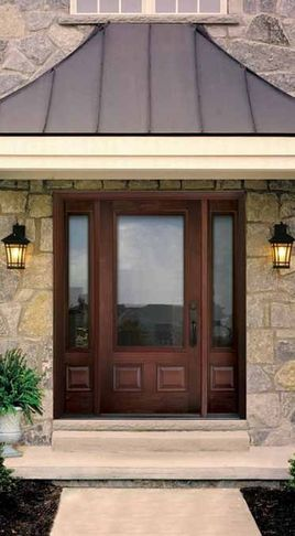 thermatru glass panel wood door exteriors Craftsman