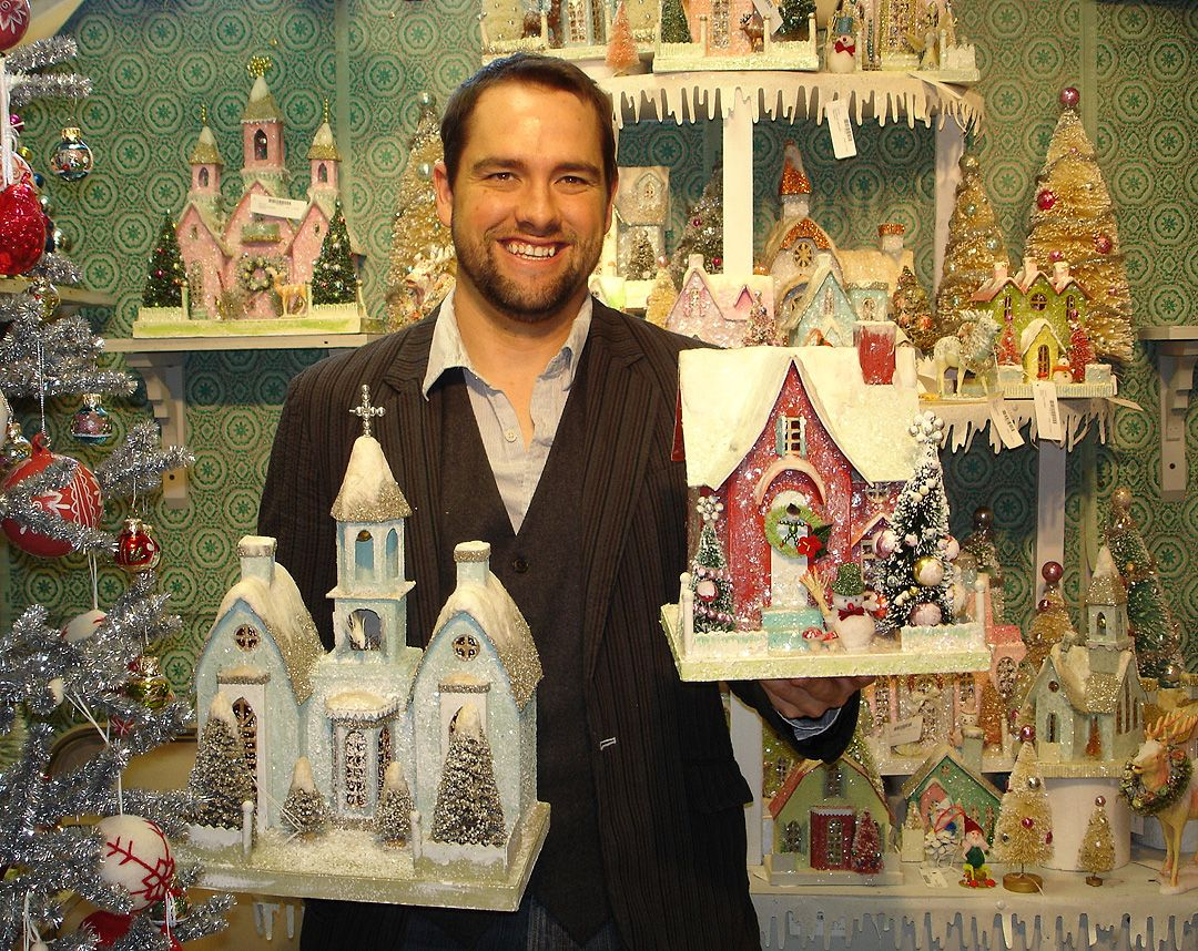 Cody Foster American Folk Art Glitter Christmas Glitter Houses Christmas Village Houses