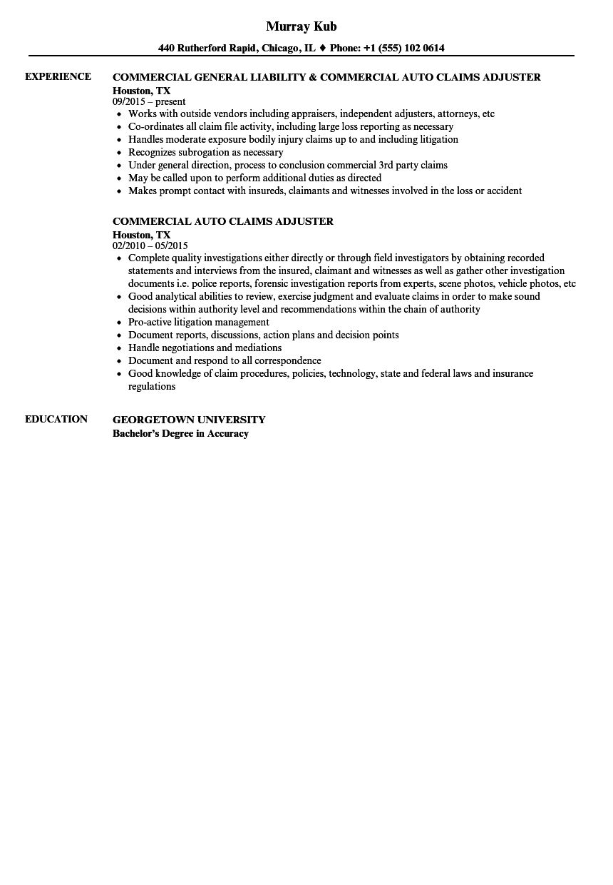 claims adjuster resume objective