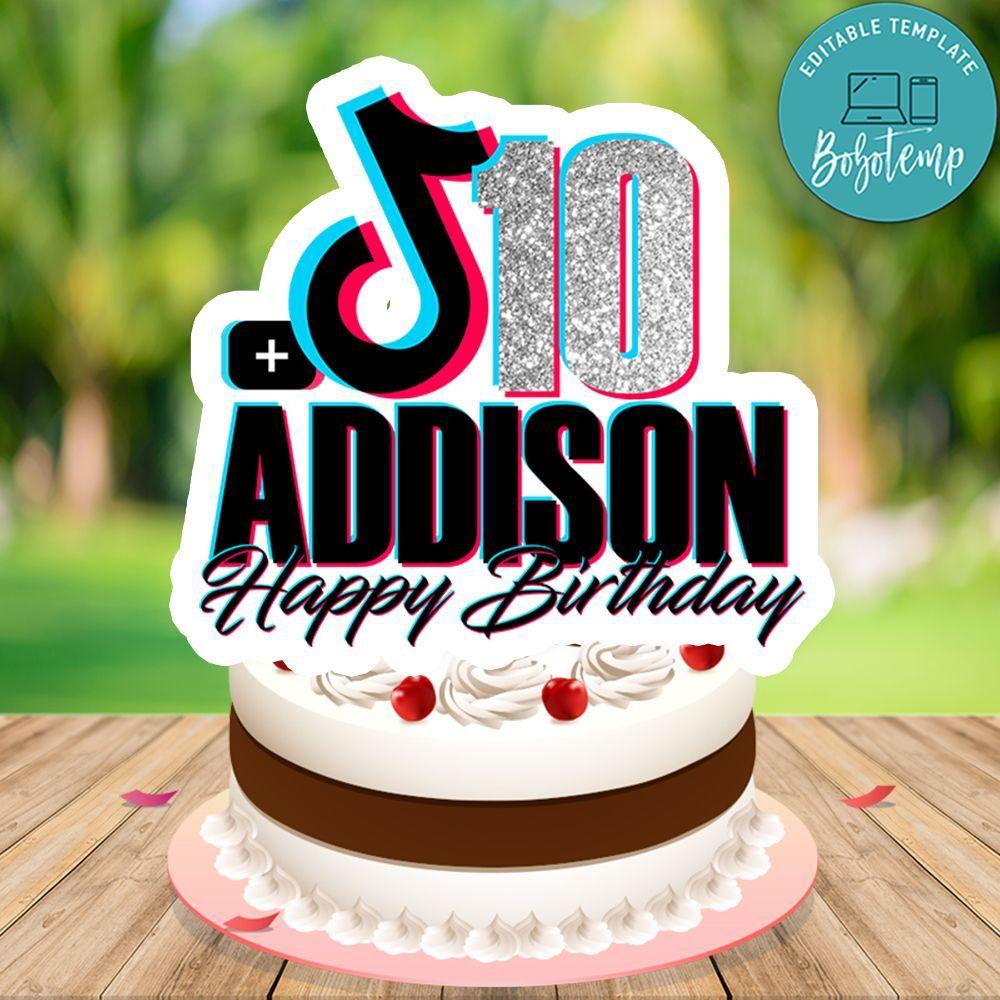 Tiktok Cake Topper Birthday With Glitter Digital File Printable Birthday Cake Toppers Cake Toppers Birthday Cake