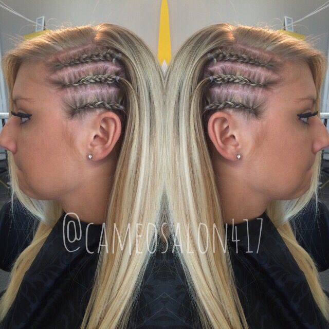 Side Braids Cornrows Blonde Highlight Hair By Whitney
