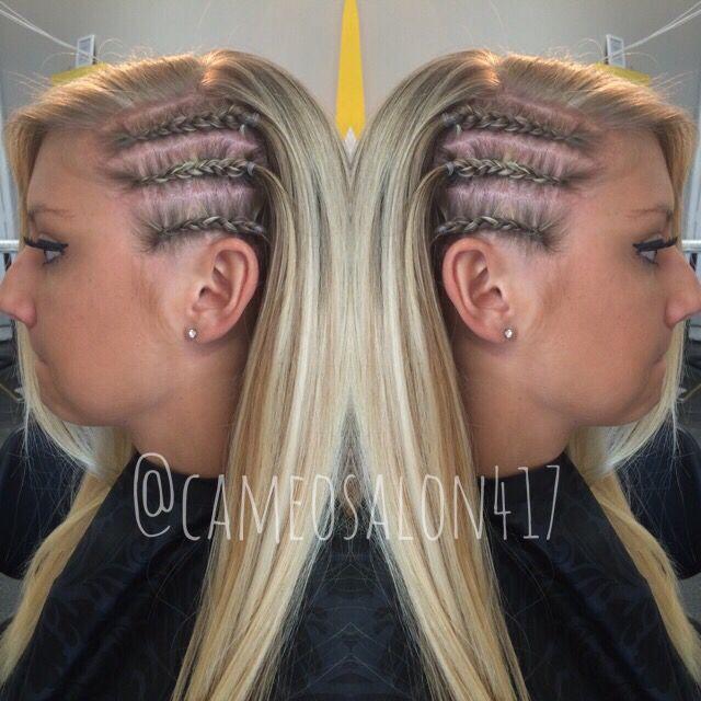 Side Braids Cornrows Blonde Highlight Girly Hairstyles Braids For Short Hair Cornrow Hairstyles