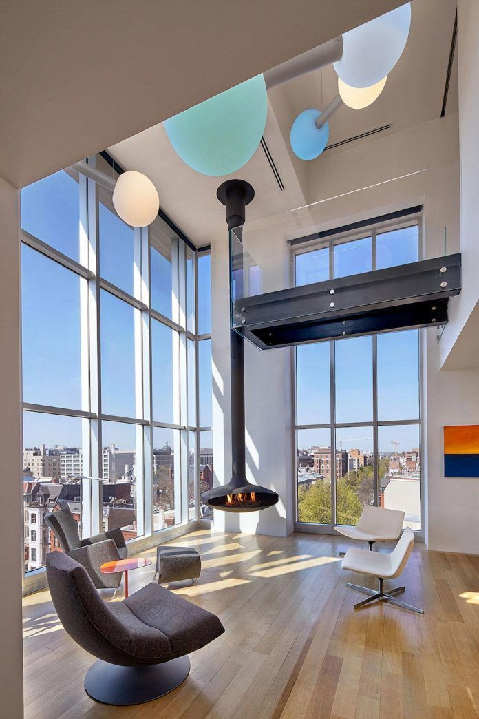 Penthouse with large double height space anchored