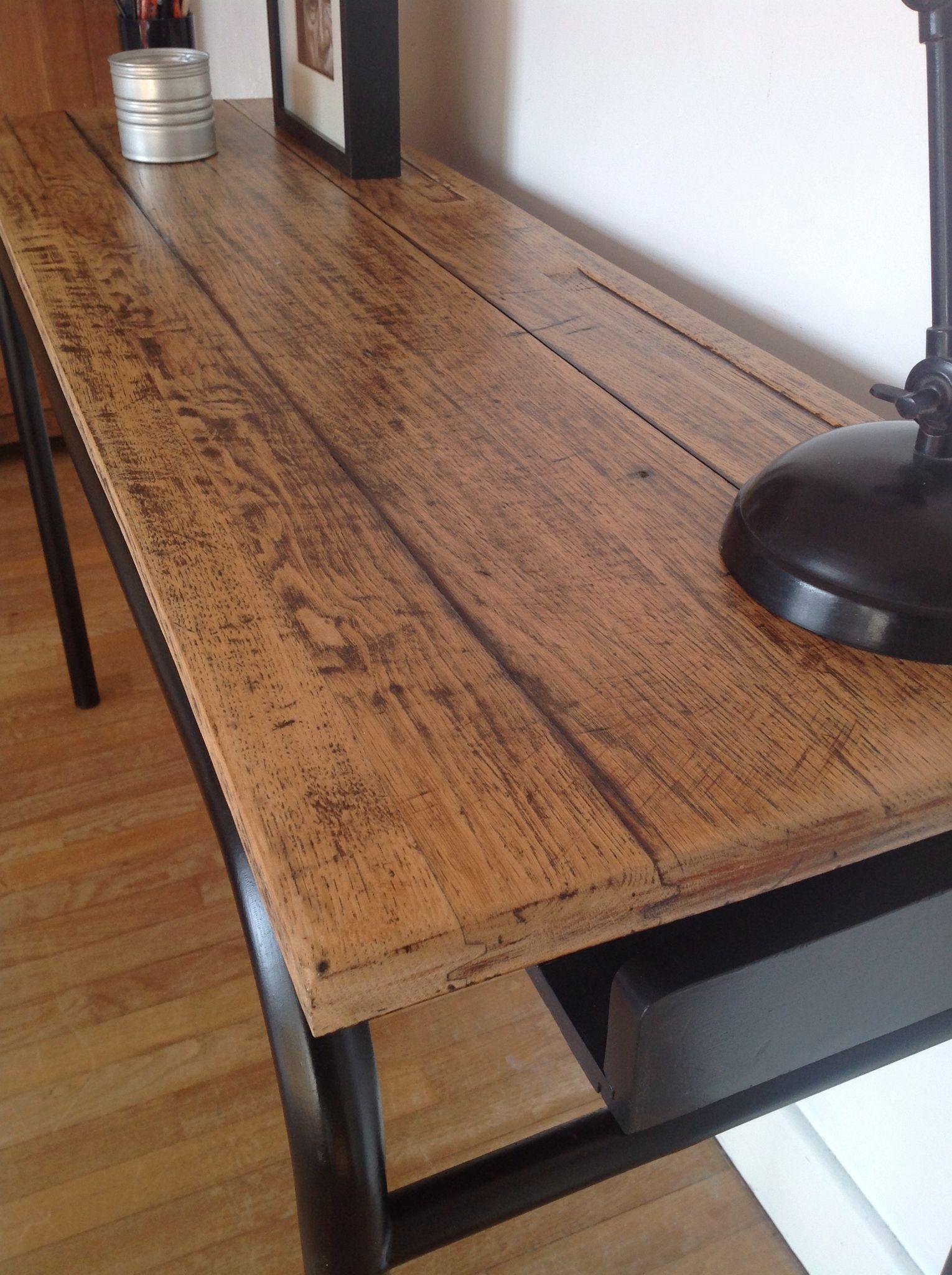 bureau console style industriel ancien pupitre r nov. Black Bedroom Furniture Sets. Home Design Ideas
