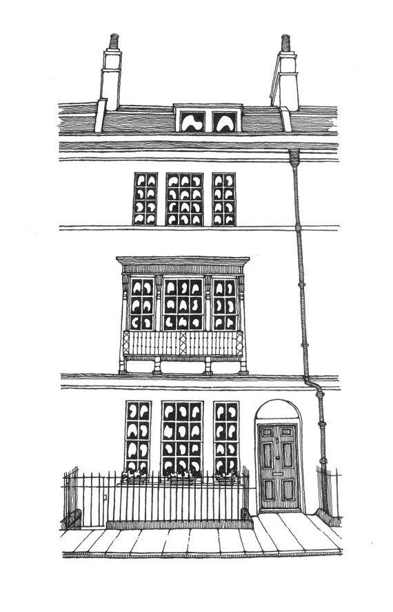Bathwick Street Bath England Sketch Architectural Print