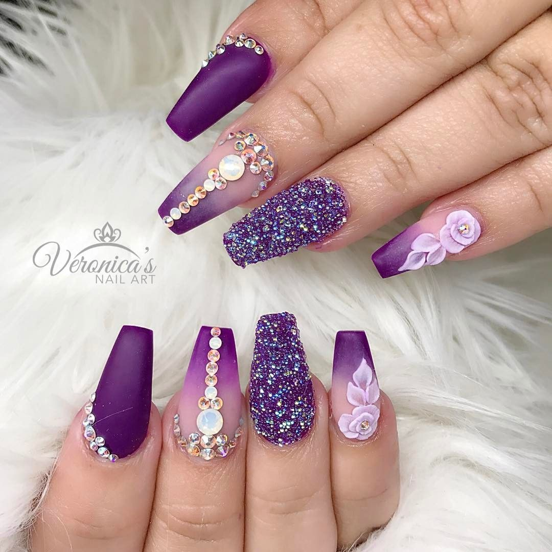 Purple and blue gradient, foil/Colored chrome, and rhinestone accent ...
