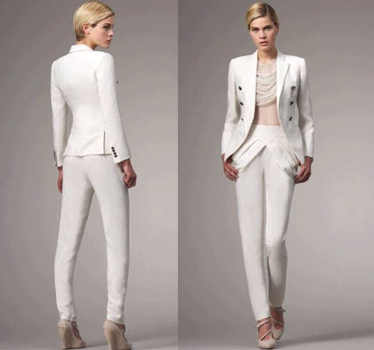 Unique White Wedding Pant Suits For Women