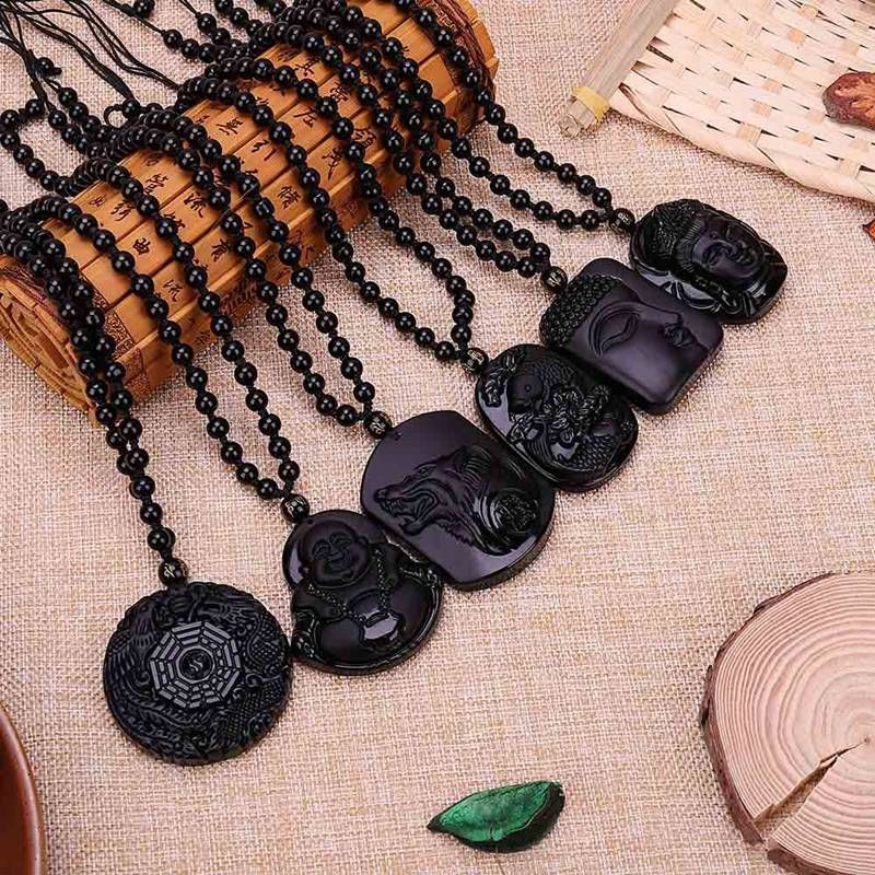 New Chinese natural obsidian hand carved Wolf head lucky pendant+Beads Necklace