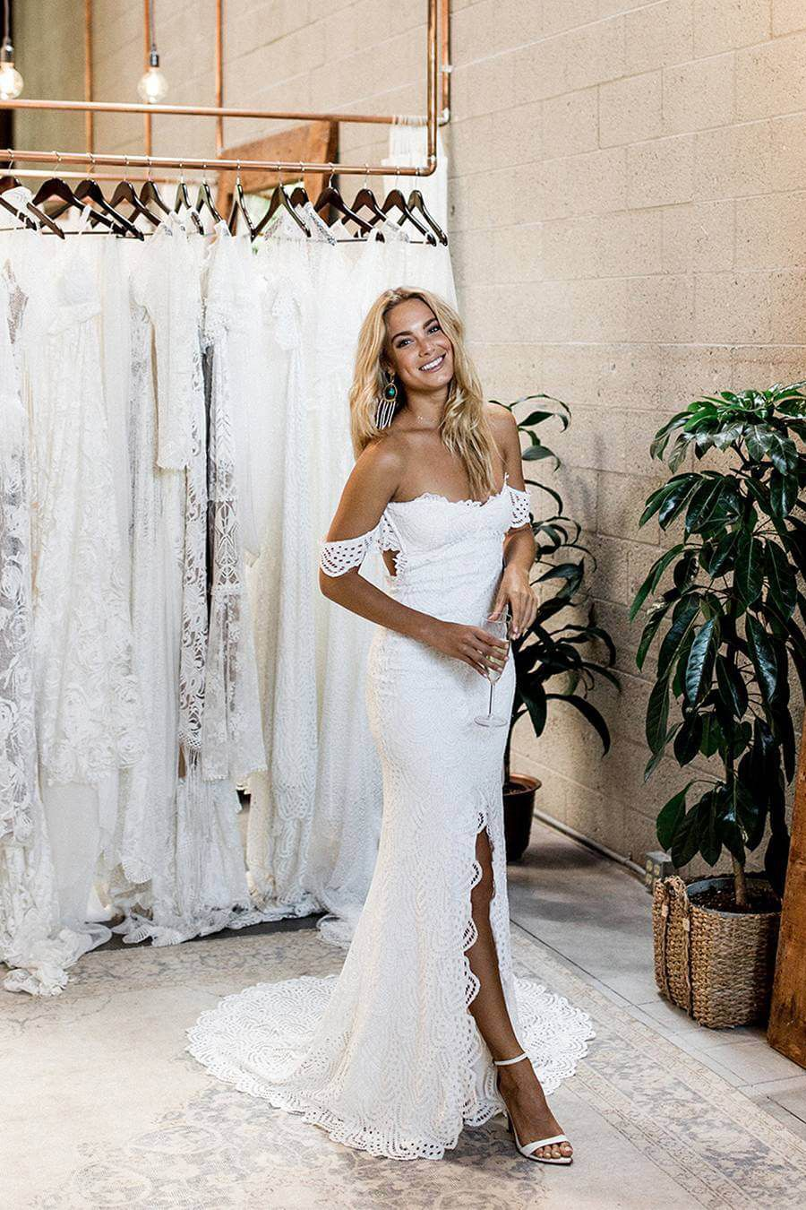 Romantic Off the Shoulder White Lace Mermaid Long Bridal Gown wide Side Slit is part of Long bridal gown -