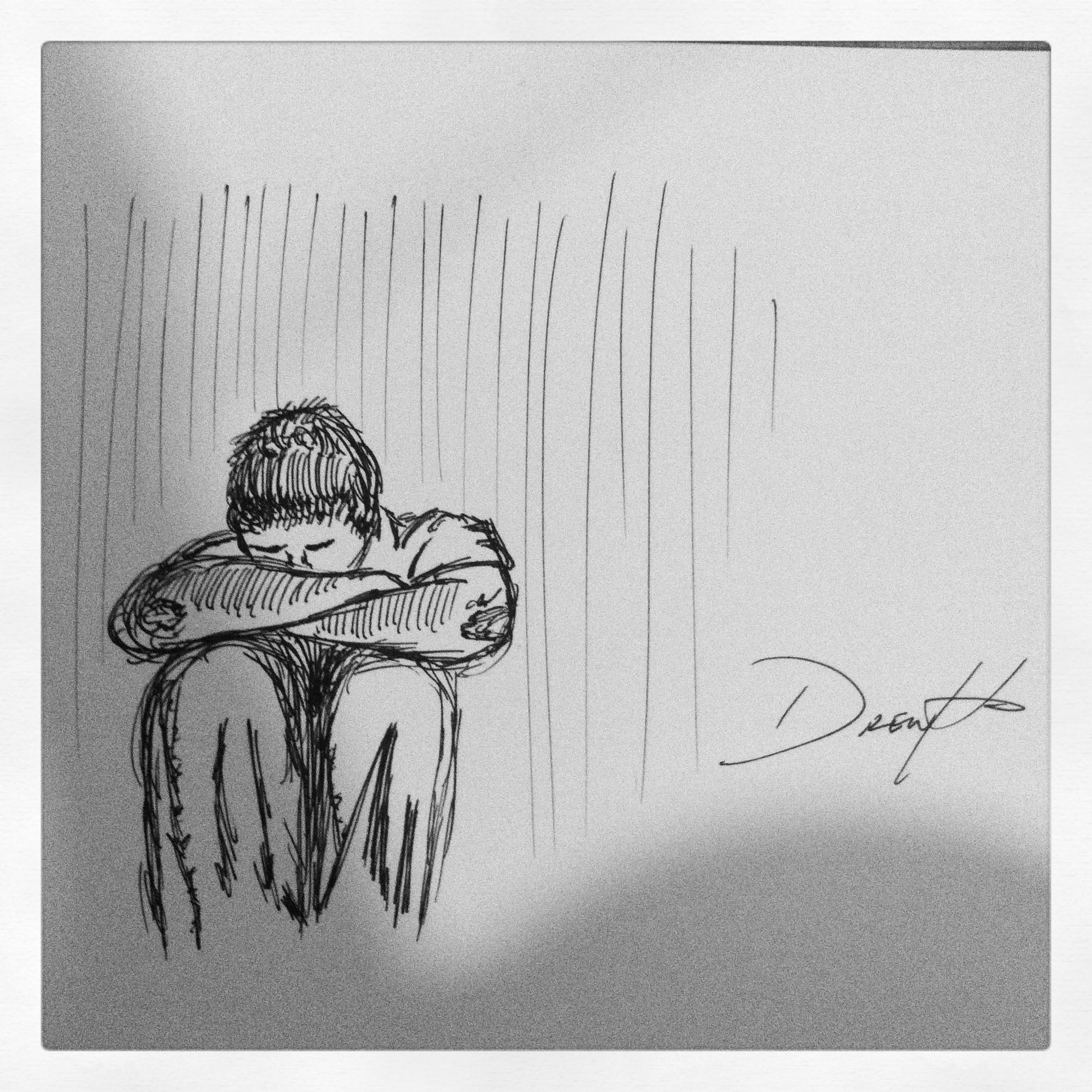 Ink pen sketch lonely man