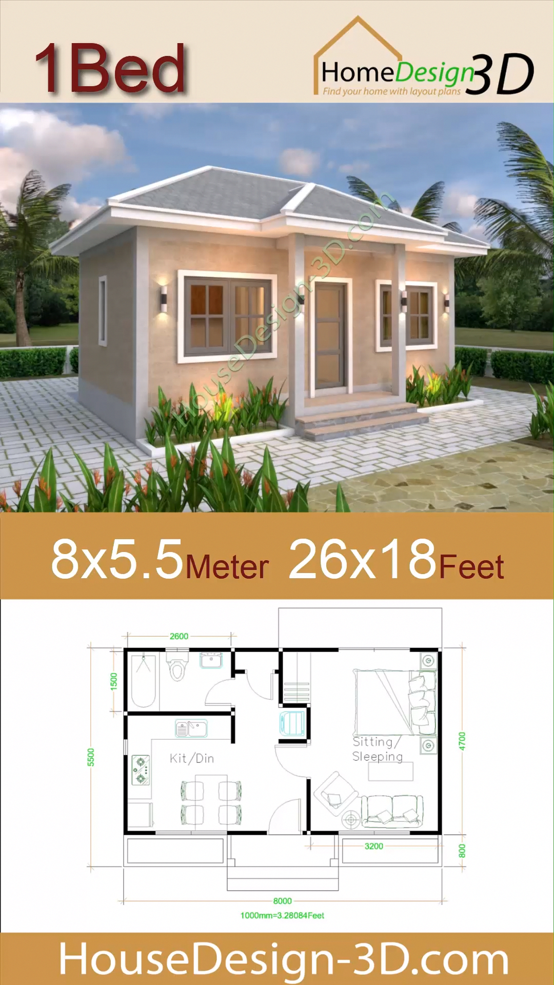Small House Plans 8x5 5 With One Bedrooms Gross Hipped Roof In 2020 Small House Design House Plans Beach House Interior Design