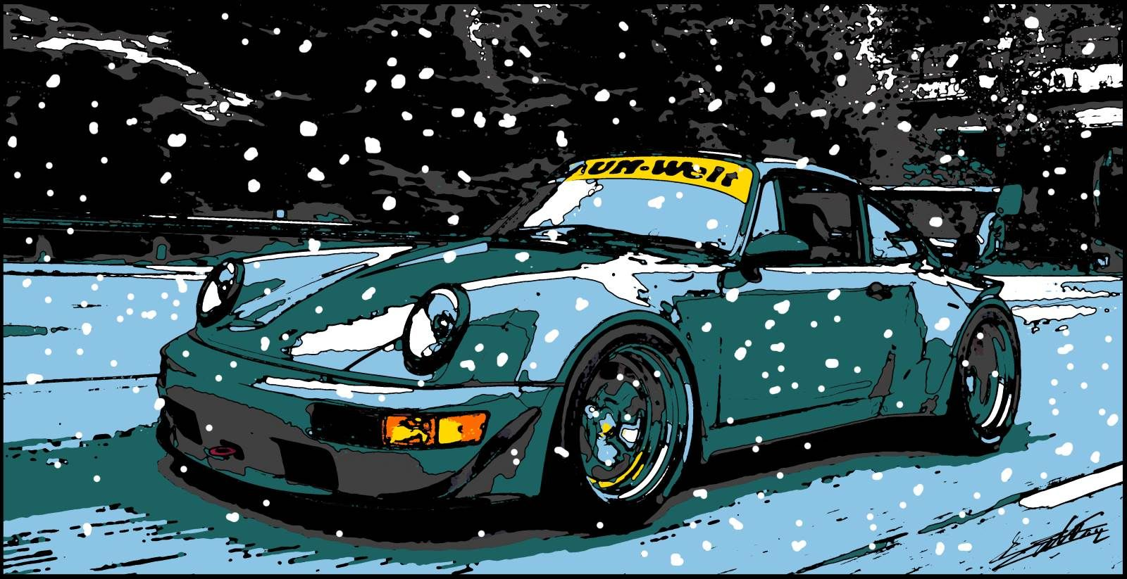 porsche peinture acrylique pop art voiture de sport course neige car art pinterest pop art. Black Bedroom Furniture Sets. Home Design Ideas