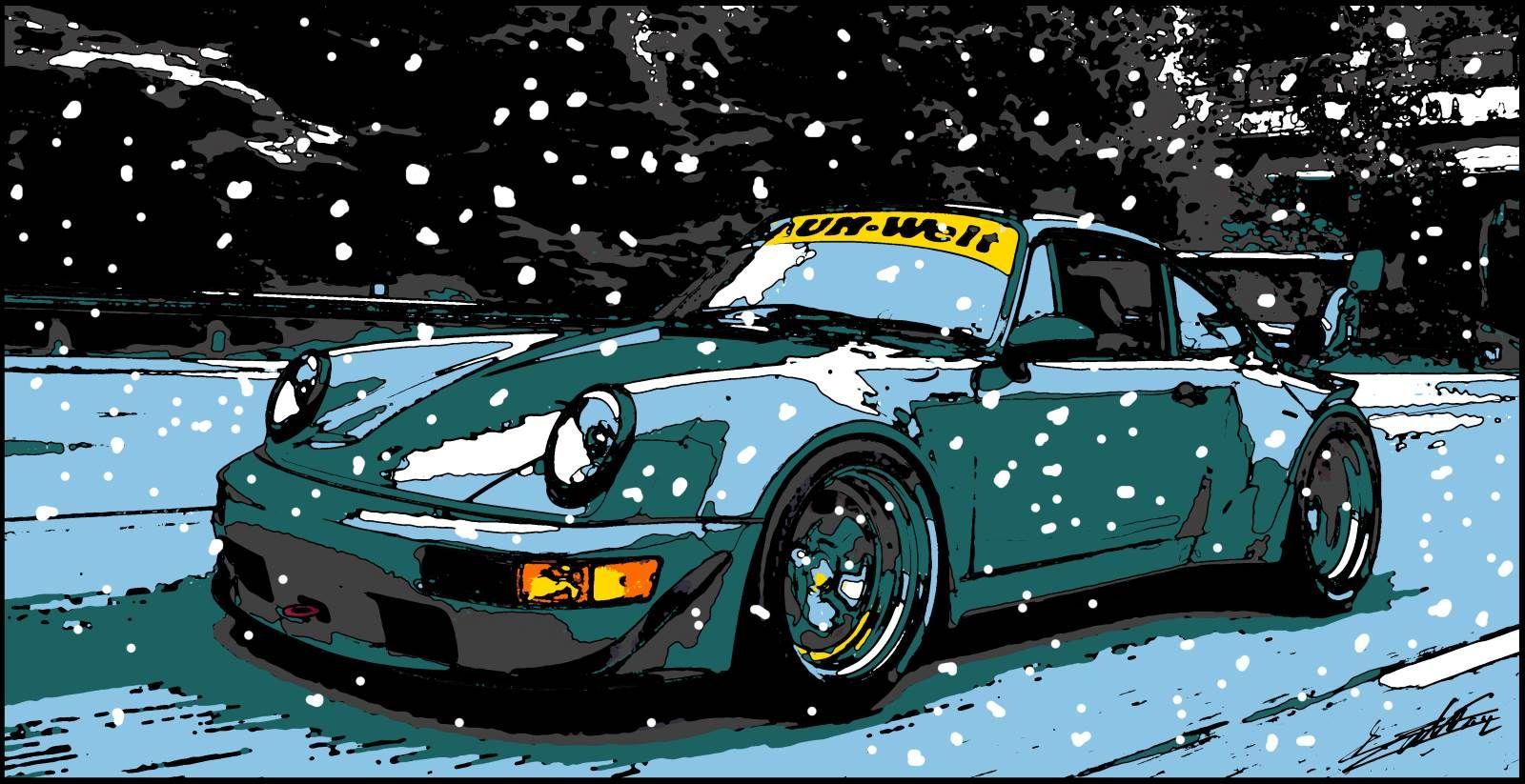 Porsche peinture acrylique pop art voiture