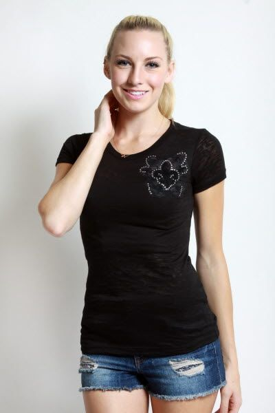 Vocal> T-Shirts> 5374S-Black Short sleeves Top Print & stone details usfashionstreet.com