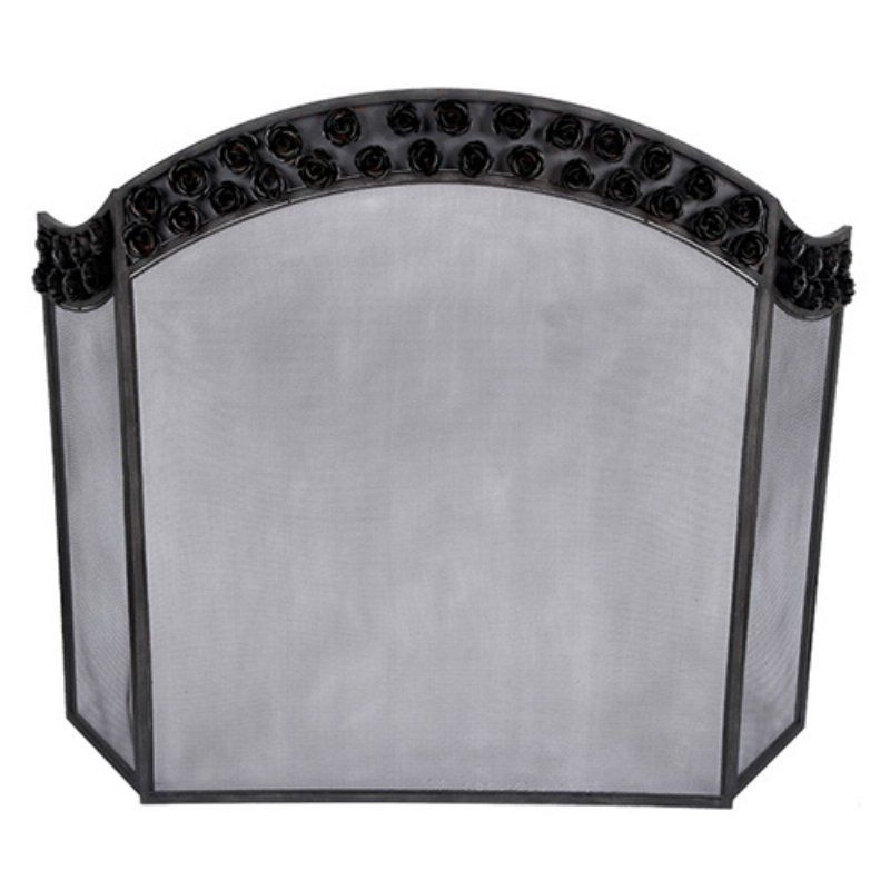 Old World Design Bianca Arched Rose Fireplace Screen - FP-5818