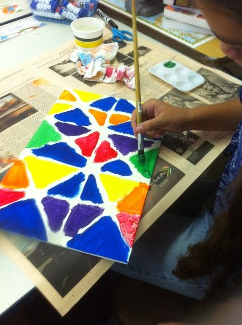 Art Lesson: Geometric Painting with Masking Tape