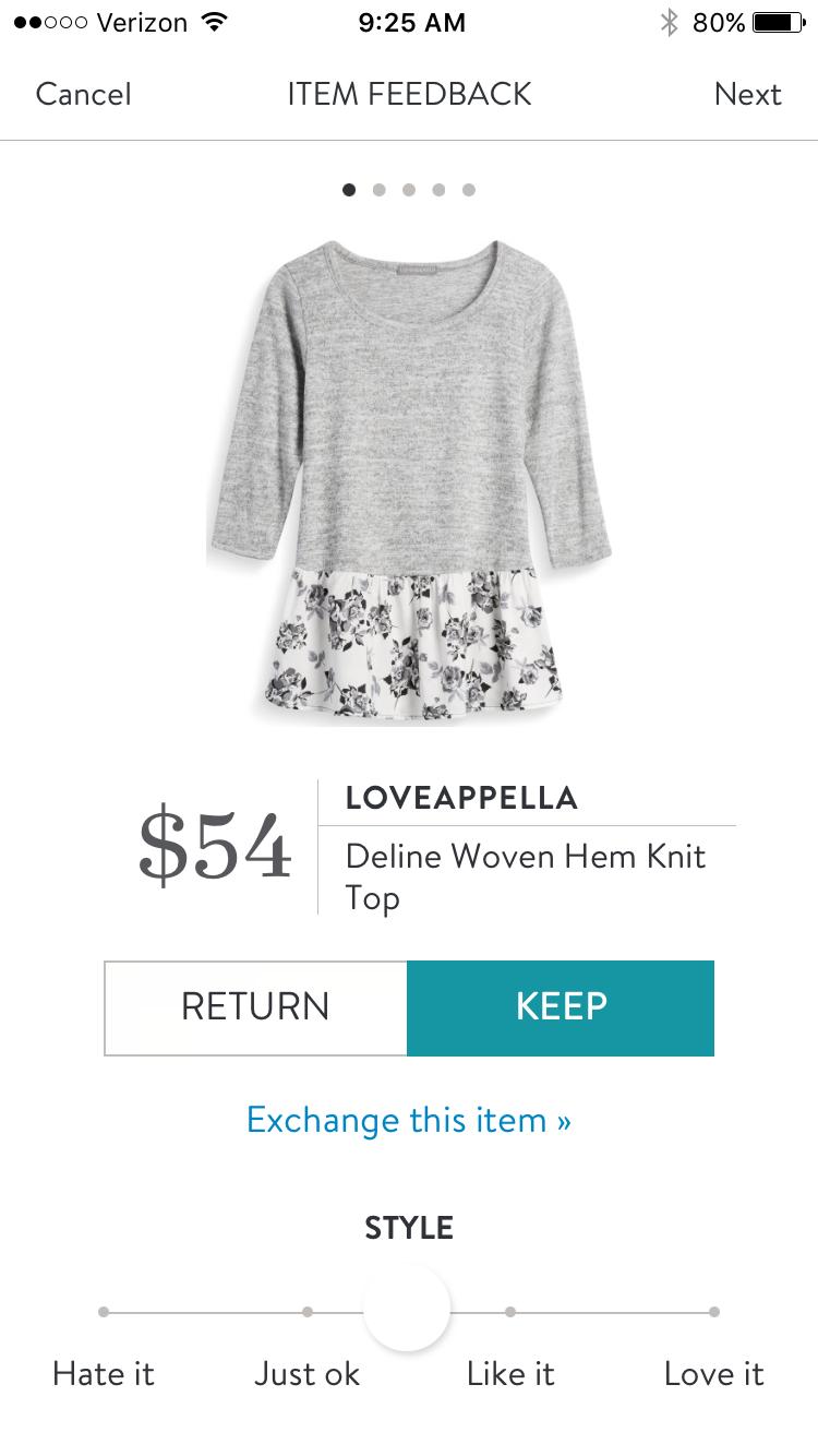 c1c72d80c1 Loveappella Deline Woven Hem Knit Top  54