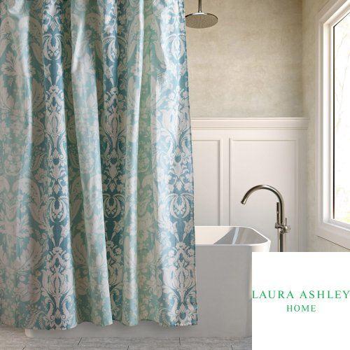 Laura Ashley Connemara Aqua Blue  White Ombre Damask Fabric - Blue and brown shower curtain fabric