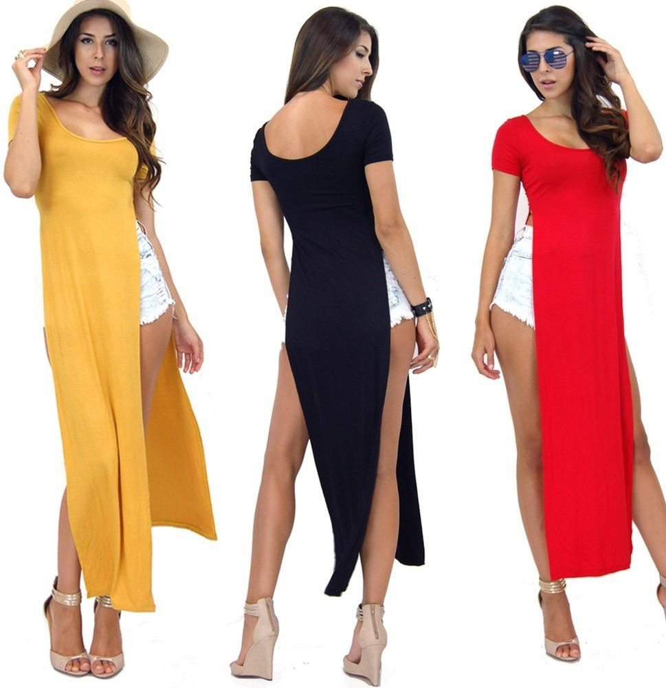 Candy Color Round Neck Celebrity Casual Side Slits Long