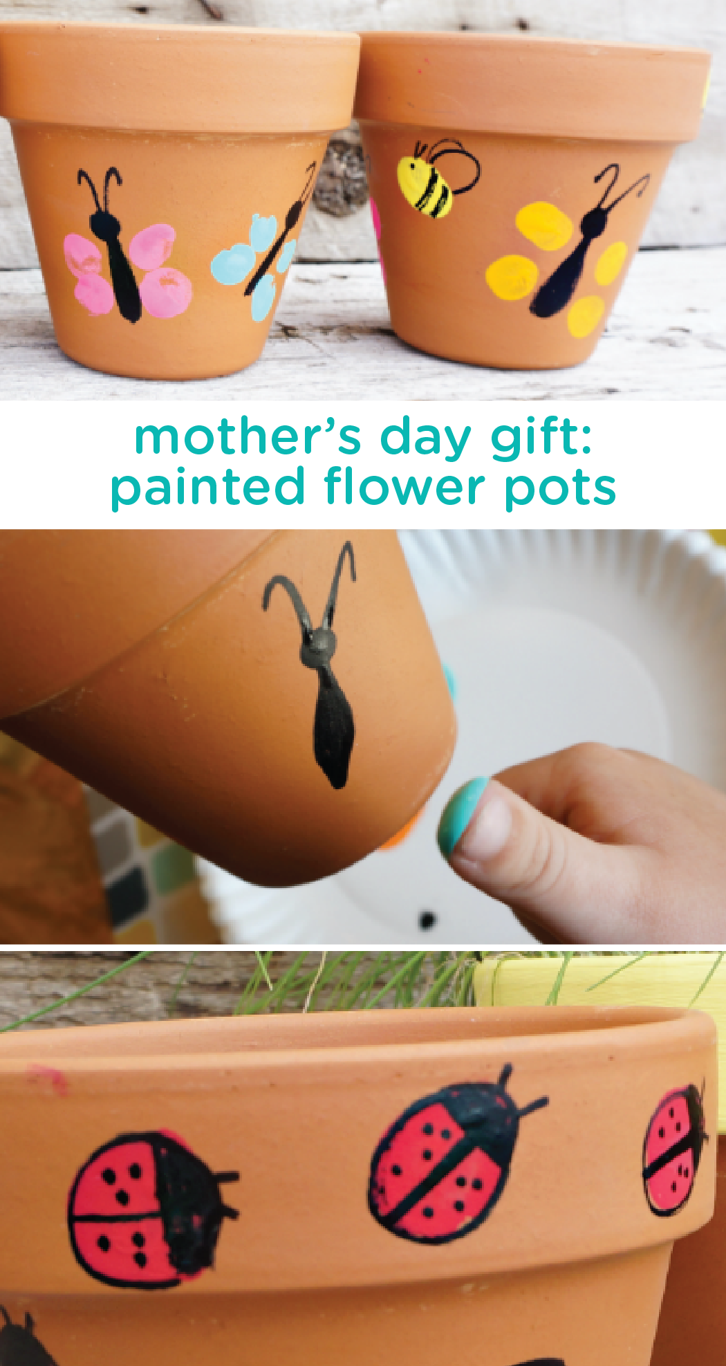 Diy Mothers Day Gifts For Grandma Thumbprint Art For Kids Painted Flower Pots Craft Baby