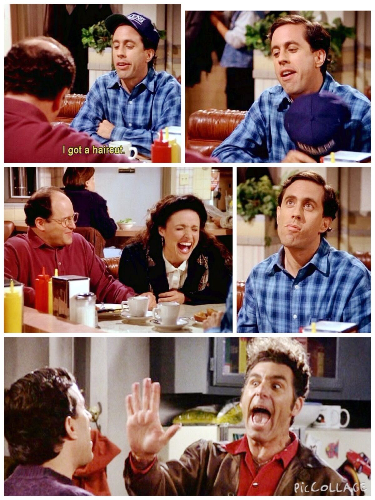 the barber jerry i got a haircut elaine hahaha you look you look like you re five years old