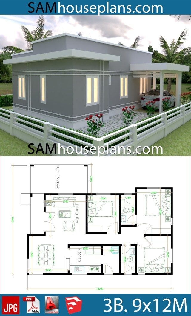 House Plans 9x12 With 3 Bedrooms Sam House Plans House Construction Plan My House Plans House Plan Gallery