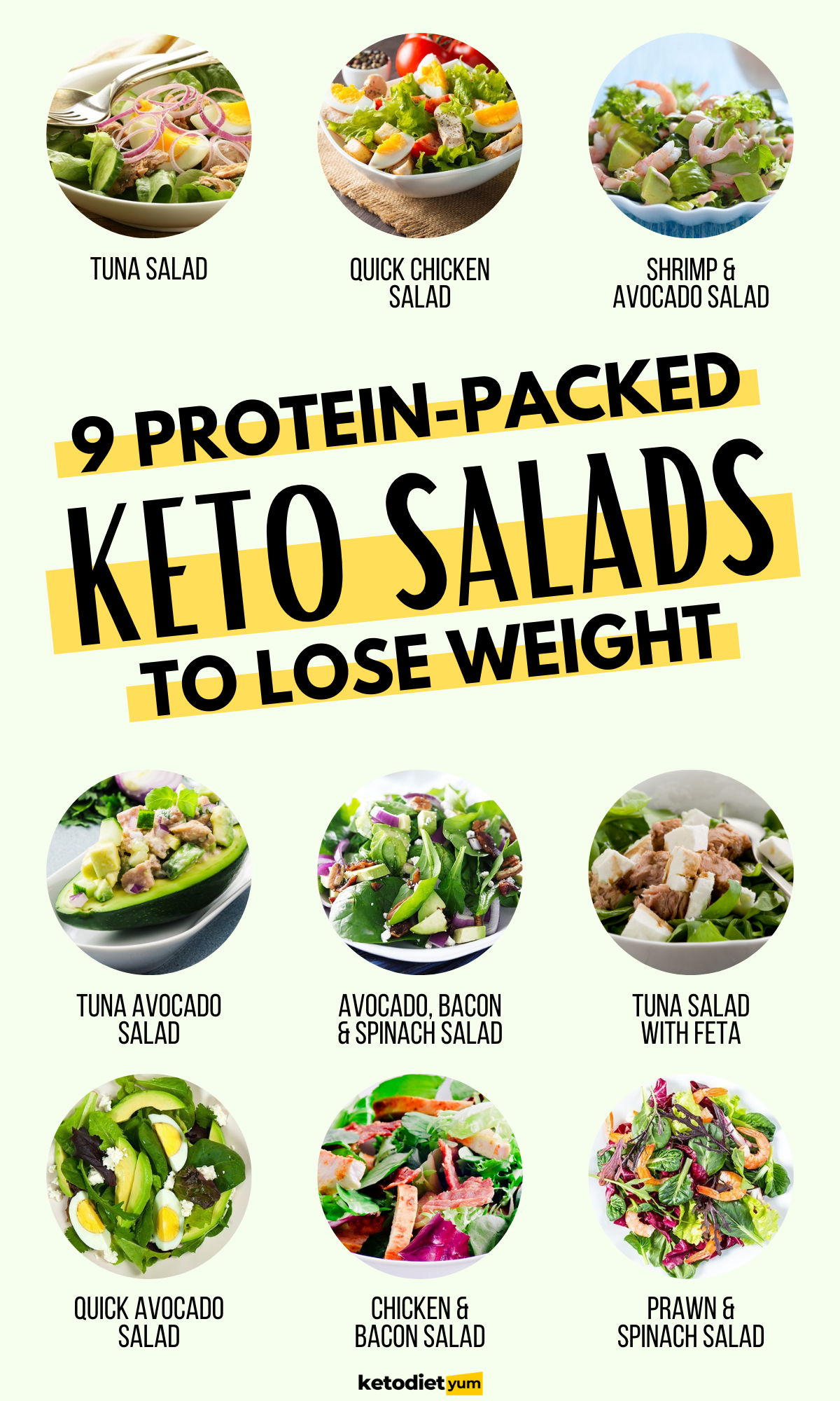 10 easy and tasty low-carb keto salad recipes for weight loss. Salads are healthy, nutritious and low-carbs. They're perfect for losing weight and to add to your keto menu.