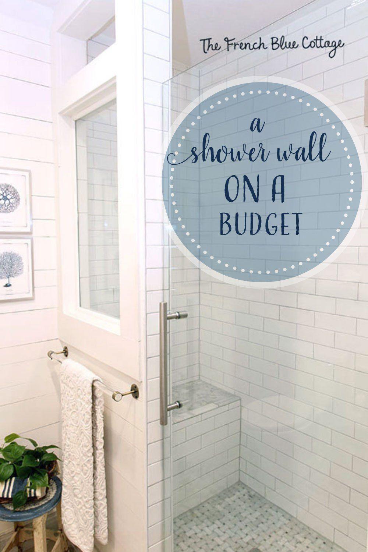 Shower Half Wall With A Window French Blue Cottage Shower Tile Window In Shower Shower Half Wall Half tiled bathroom window