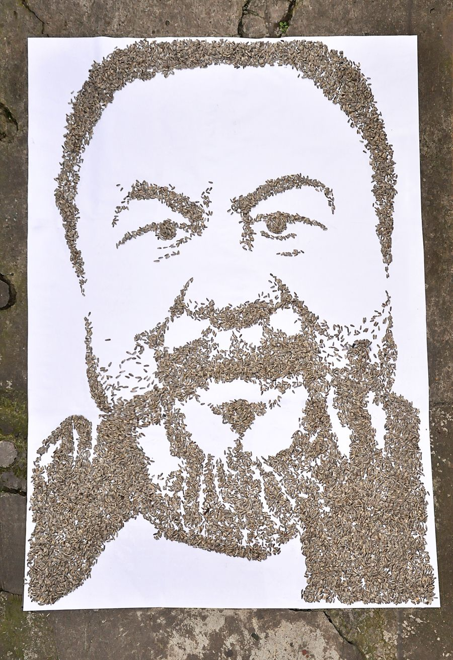 Portrait done from sunflower seeds