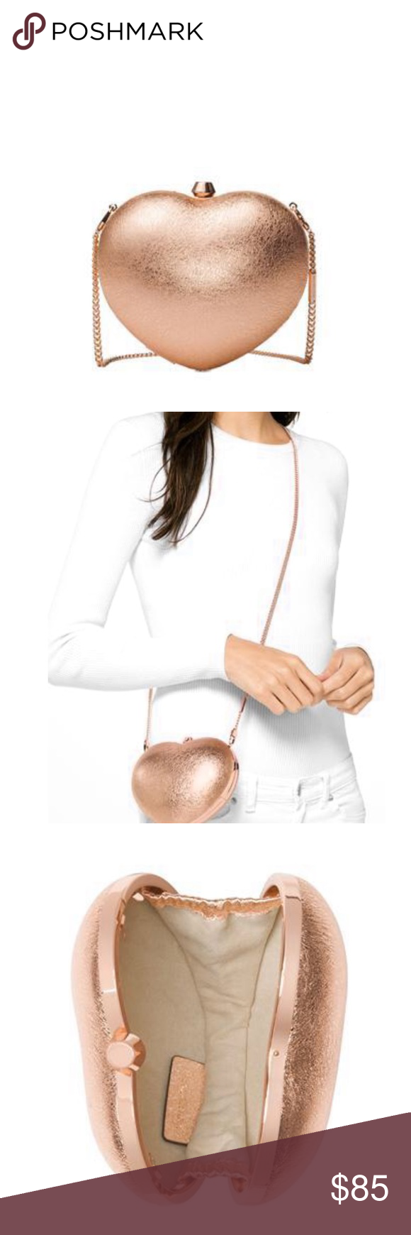 6b56bb78c43a MICHAEL Michael Kors Heart Box Clutch| Valentine's Small Heart Box Clutch  Leather Pearl RoseGold Brand New with Tags MICHAEL Michael Kors Bags