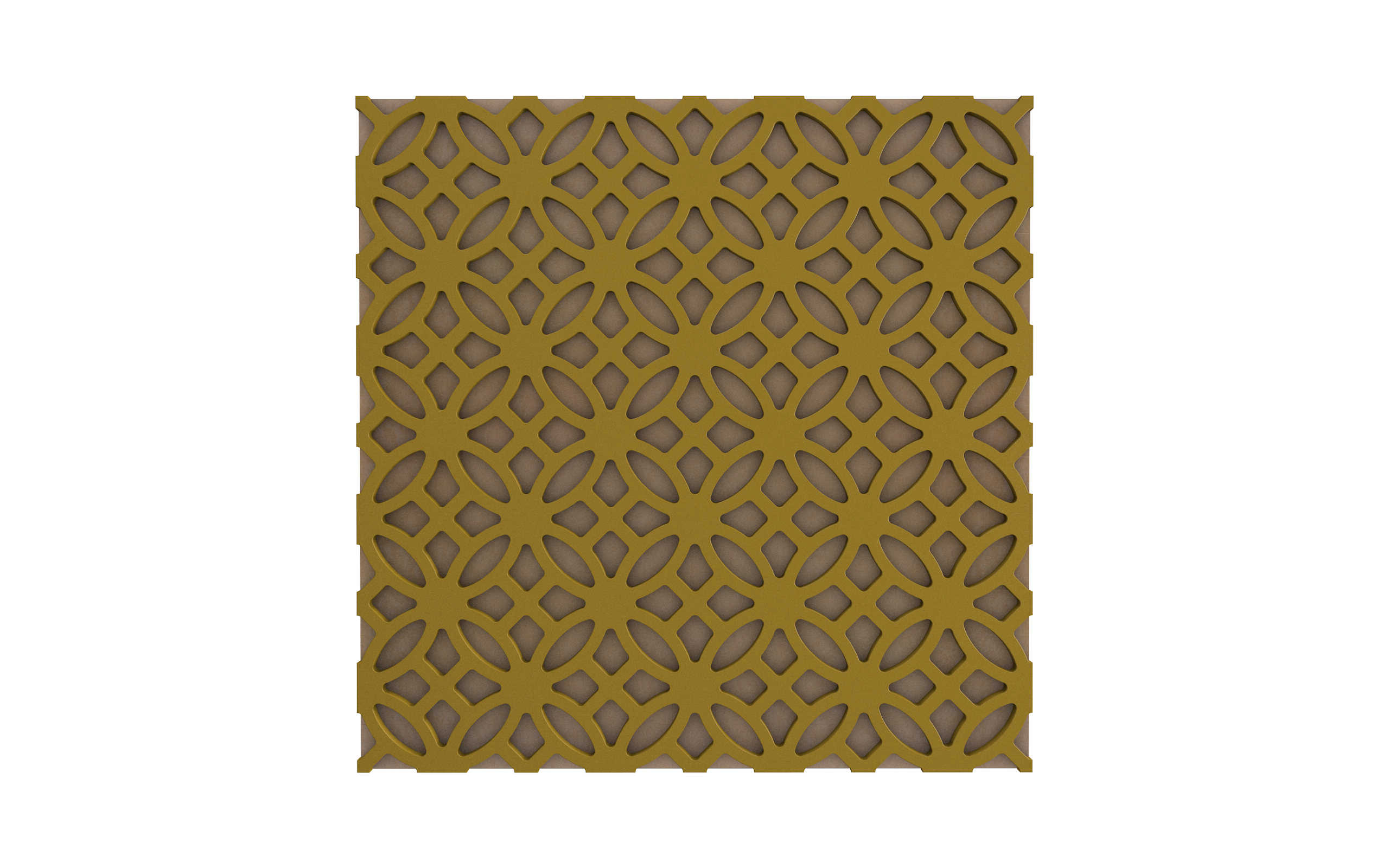 Vicoustic's Mirage pattern with gold frame and beige fabric.