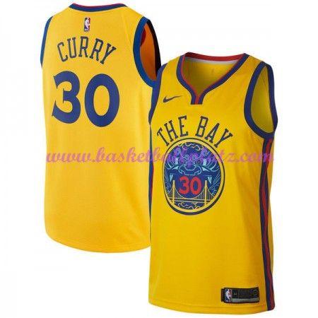 3bb871091a2 Golden State Warriors Trikot Herren 2018-19 Stephen Curry 30# City Edition Basketball  Trikots NBA Swingman