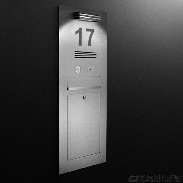 edelstahl designer einputzbriefkasten sprechstelle klingel hausnummer beleuchtet durch led. Black Bedroom Furniture Sets. Home Design Ideas