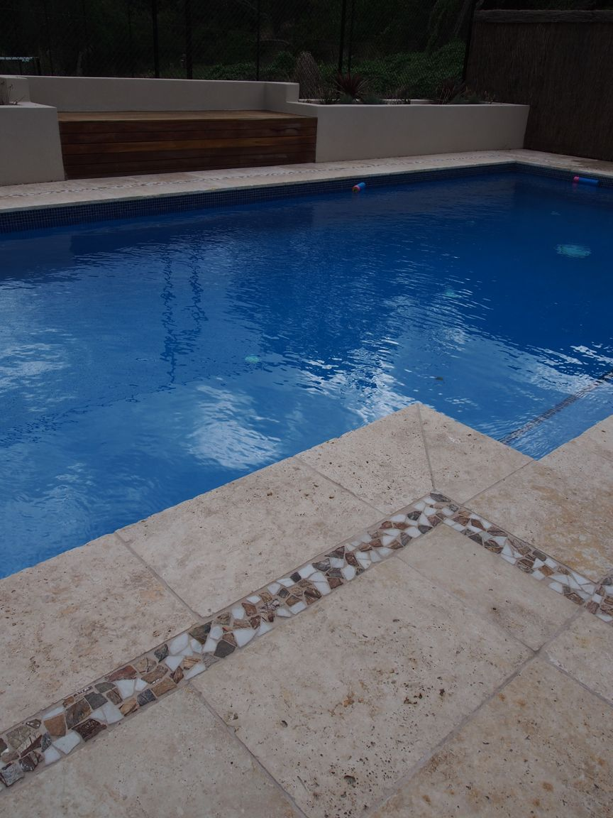 travertine coping with glass tile surround | Pool Ideas | Pinterest ...