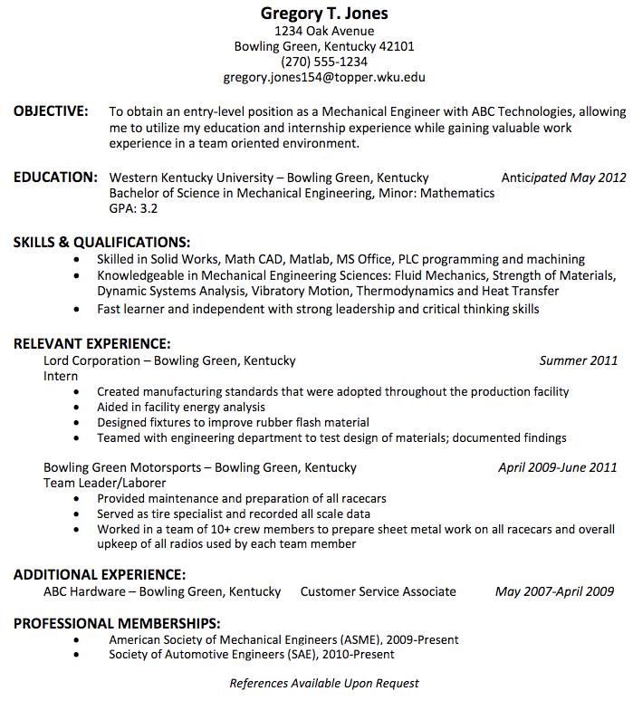 Mechanical Engineering Resume For Fresher  HttpExampleresumecv
