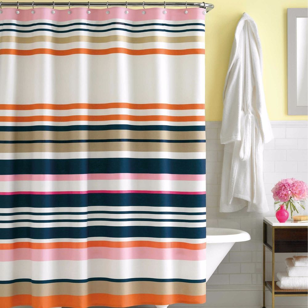 Kate Spade Candy Shop Stripe Retro Shower Curtain Pink Blue Beige
