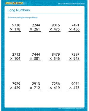 Worksheets 5th Grade Math Worksheets Multiplication all 5th grade math worksheets teaching pinterest long numbers printable multiplication worksheet for fifth graders