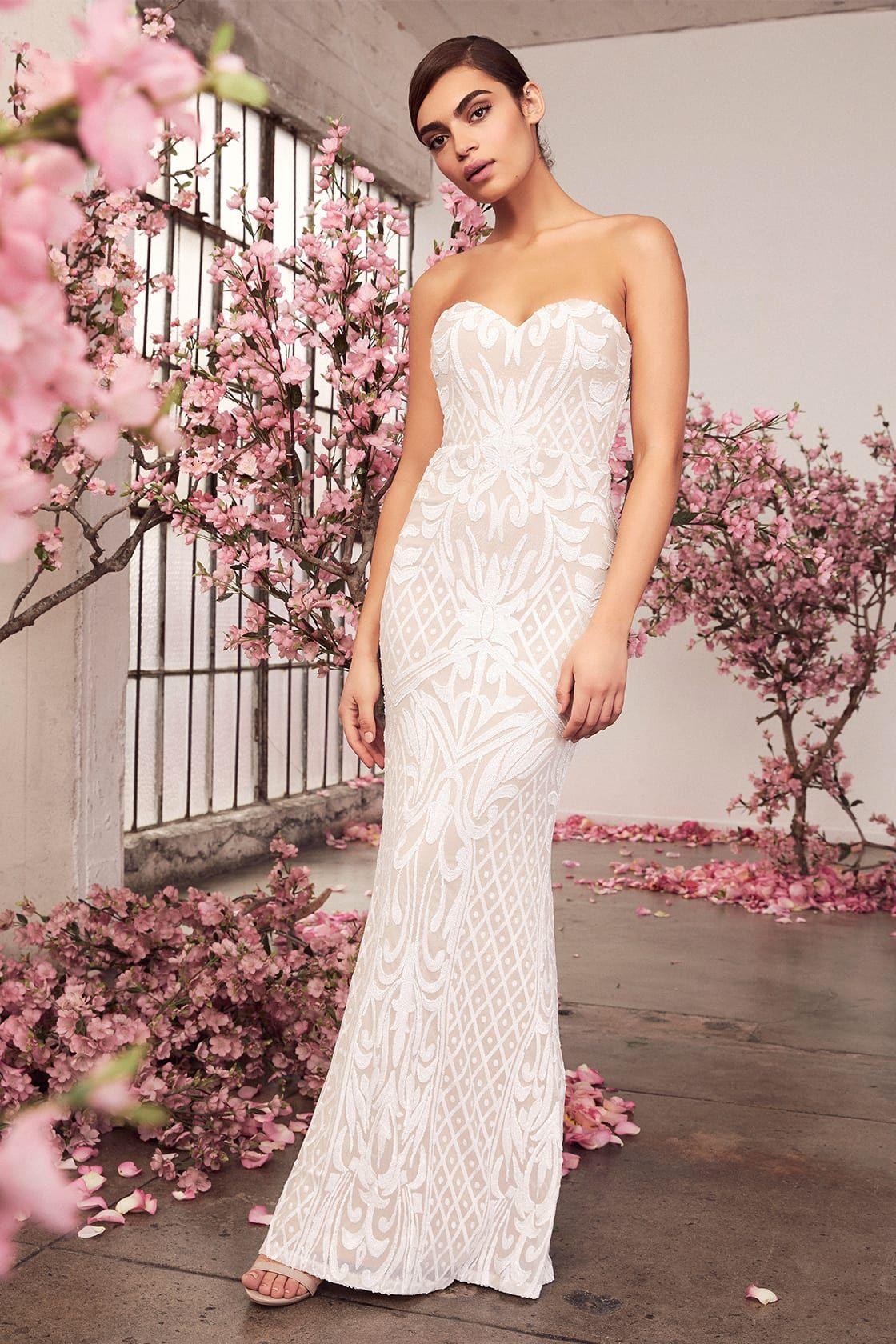 87fab82aa Lulus | Olivia White Sequin Strapless Maxi Dress | Size Large | 100 ...