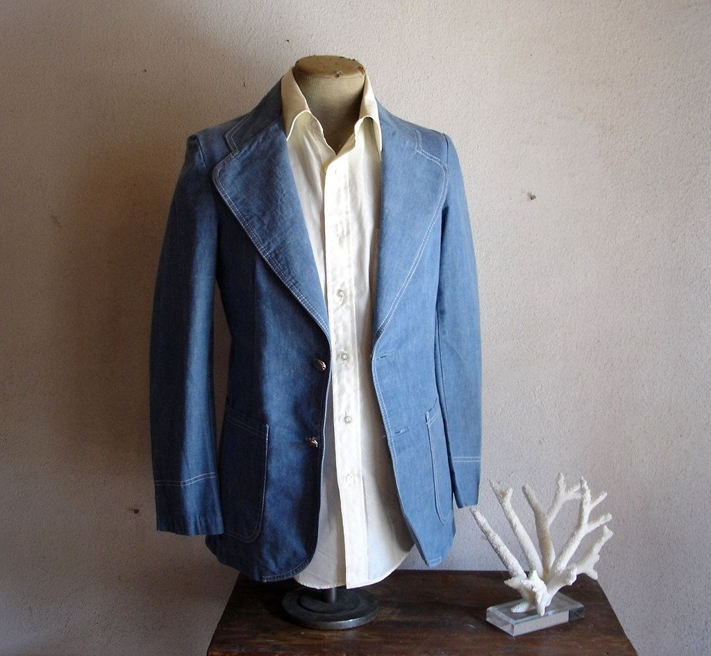1970s Denim Suit Jacket Mens Vintage Super Stylish 70s Lightweight ...