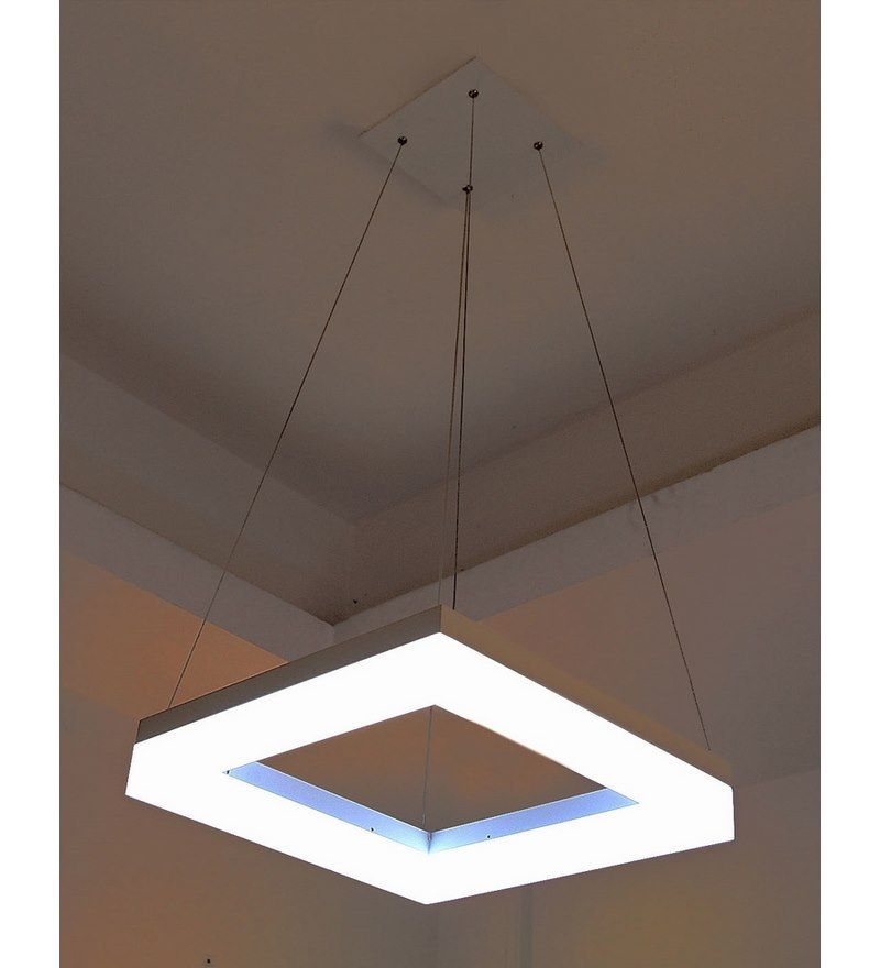 Aesthetic Contemporary Cool White LED Hanging Light In Square By Aesthetics  Home Solution Online   Hanging