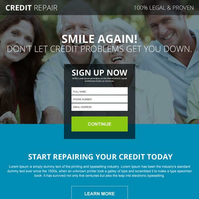 legal and proven credit repair lead gen landing page design   Buy ...