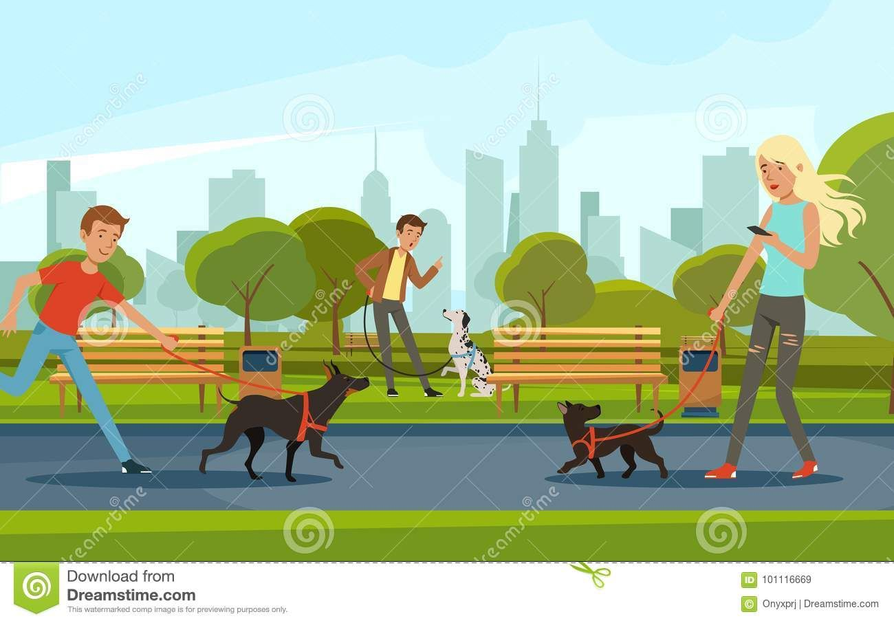 People Walking With Dogs In Urban Park Vector Landscape In Cartoon Style Stock Vector Illustration Of Bench Happy 10 Cartoon Styles Urban Park Cartoon Dog