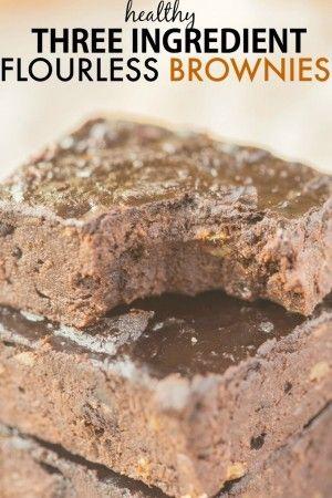 Healthy 3 Ingredient Flourless Brownies (Paleo, Ve