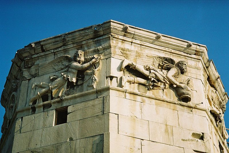 The Tower of the Winds, with the frieze showing the wind