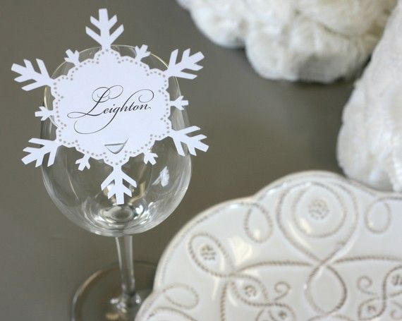 snowflake place cards from timeless paper diy this