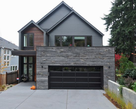 Exterior Design, Contemporary House Facade With Black Modern Garage Door  Also Gray And Brown Wooden Bedboard Wall House Design Also Untreated Wooden  Wall ...